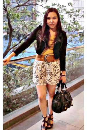 leather thrifted jacket - zebra printed H & M shorts - marigold shopwise top