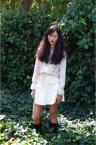 eggshell Bluebird shirt - eggshell American Apparel skirt