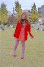 Red-forever-21-coat-light-purple-tights-red-shoes-salmon-dress
