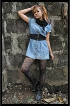 black combat boots boots - periwinkle acid-wash denim dress