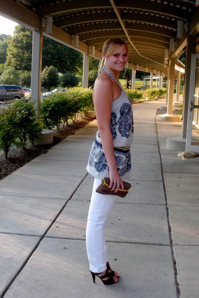 Ruehl blouse - Ruehl belt - martin and osa jeans - purse - Steve Madden shoes