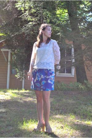 white Charlotte Russe top - blue Ann Taylor Loft skirt - beige Steve Madden shoe