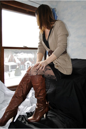 brown Dolce Vita Vita boots - black bcbg max azria dress - brown American Eagle
