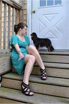 black pour la victorie shoes - green Ann Taylor Loft dress - silver Ann Taylor L