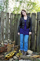 black Jeffrey Campbell shoes - purple Forever 21 shirt - black Forever 21 shirt