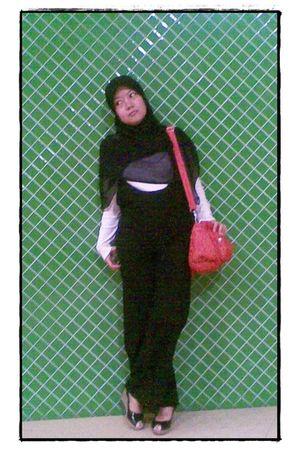 black unbranded scarf - white Esprit shirt - black korea fashion by pants - red