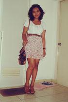 pink thrifted dress - brown Celine shoes - brown vintage purse - brown vintage b