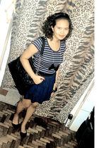 blue thrifted dress - black thrifted shoes - black Chanel purse - black DIY neck