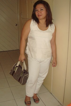 Segue bag - deca pants - white Patio jeans couture blouse - celines sandals