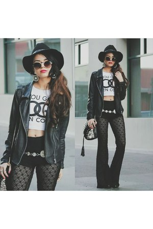 white Skinny Bitch Apparel shirt - black Forever 21 jacket