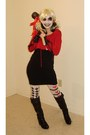 Black-boots-black-target-dress-white-tights-ruby-red-hoodie