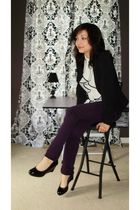 black simply vera shoes - black Forever 21 blazer - white top - purple pants