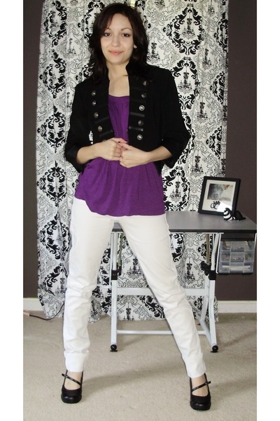 black Forever 21 jacket - purple Target top - white Hot Topic pants - black shoe