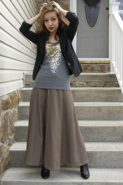 black blazer - heather gray top - light brown Forever 21 skirt - black Target bo