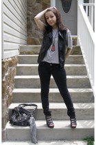 black Forever 21 vest - black jeans - dark gray bag - ruby red necklace