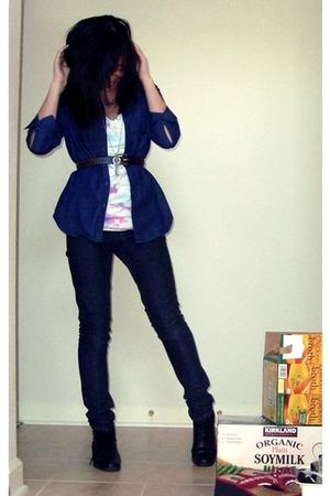 blue f21 jeans - blue cardigan - white belt - tie-dyed at home t-shirt