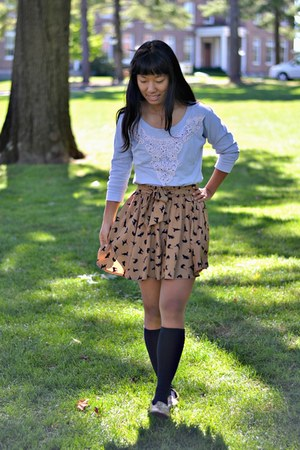 bronze PERSUNMALL skirt - light blue kohls sweater - gold Target flats