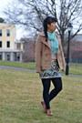Light-pink-kohls-sweater-aquamarine-china-scarf-tan-bogo-cardigan