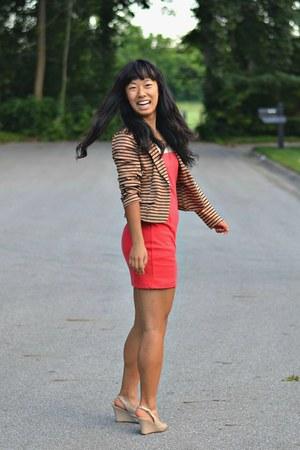 bronze Marshalls blazer - red Forever 21 dress - nude Payless heels