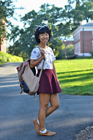 brick red China skirt - white wifi print China t-shirt