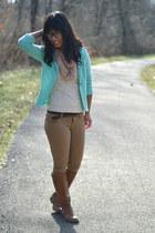 aquamarine kohls blazer - tawny Old Navy boots - light pink Target scarf