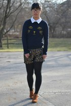 navy Rosegal sweater - tawny sears boots - gold kohls shorts