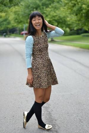 black Target socks - camel H&M dress - gold Target flats - gold Macys necklace