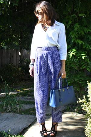 cobalt blue Prada bag - platform Prada heels - crisp white Theory blouse - patte