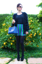 bright blue Prada bag - bright stripes vintage shorts - Tom Ford sunglasses - pl