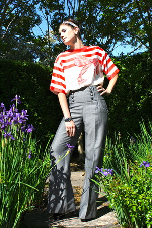 bow and stripe Vintage Louis Feraud blouse - high waisted River Island pants
