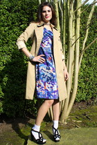Anthropologie dress - trench coat Burberry jacket - platform heels Prada heels