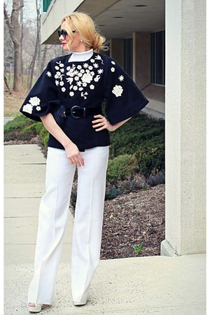 black soft texture Michael with DIY flower applique coat - white Valentino pants