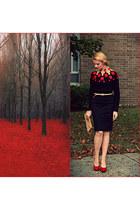 DIY sweater - vintage purse - classic shape Anne Klein skirt