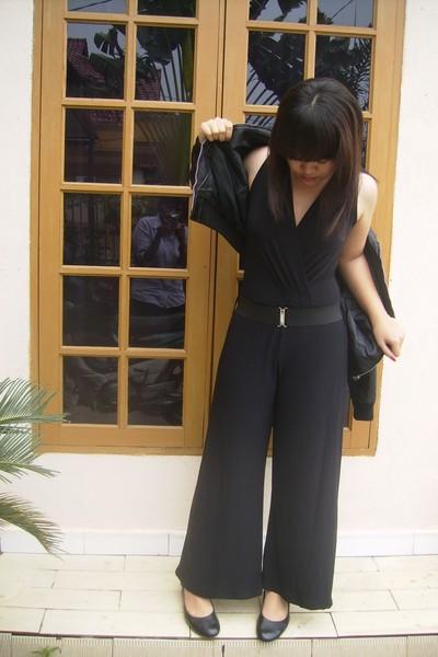 jumpsuit - Leather jacket