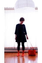 black dress - carrot orange leather bag - orange Club Monaco socks