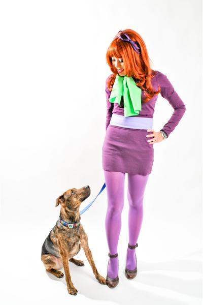 purple aa top - purple aa tights - green fabric Hobby Lobby scarf