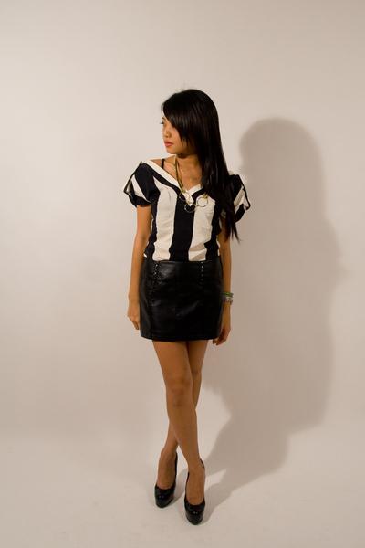 loeffler randall top - f21 skirt - YSL shoes - banana republic necklace