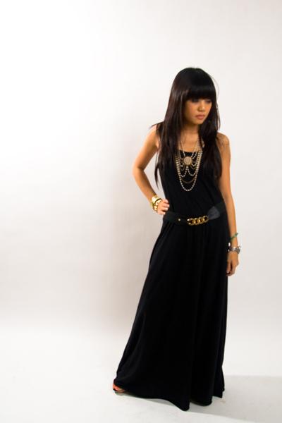 black Target dress - gold f21 belt - gold f21 necklace
