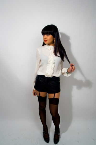 tory burch blouse - f21 shorts - Victorias Secret stockings - Steve Madden shoes