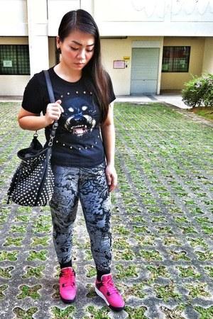 black Topshop bag - black Givenchy shirt - hot pink Nike Air Jordan sneakers