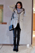black faux leather Bershka pants - biker boots Gap boots - gray Motivi jacket
