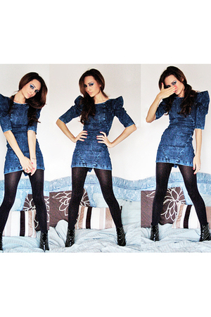 blue denim Miss Selfridge dress - black studded ankle Sisley boots