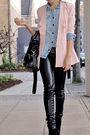 Blue-shirt-pink-blazer-black-pants-black-black-boots