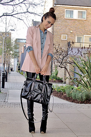 denim shirt - ankle boots - silk blazer - studded bag bag - faux leather pants