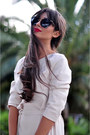 Beige-belted-pocket-reiss-dress-black-cat-eye-miu-miu-sunglasses