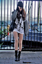 white shredded BikBok sweater - black lace up H&M boots