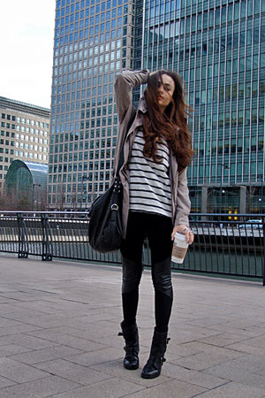 black biker boots - black leather panels leggings - striped shirt
