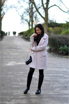 light pink oversized Oasis coat - black rain Mulberry boots