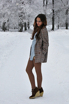 blue shirt - brown blazer - beige leggings - brown stockings - brown boots - bro