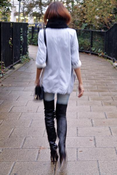black thigh-high Topshop boots - blue skinny Mango jeans